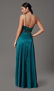 Image of beaded-waist long prom dress in hunter green. Style: CT-2622GK8B Back Image