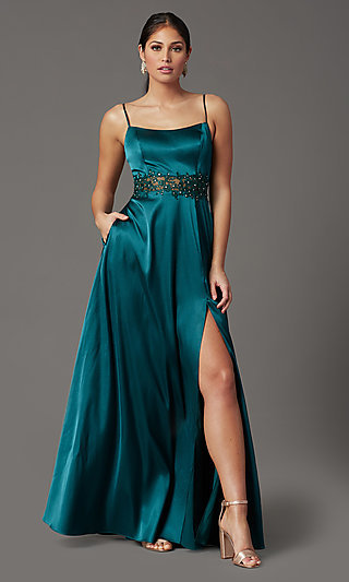 Beaded-Waist Long Prom Dress in Hunter Green