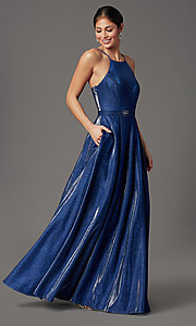 Image of cobalt blue long a-line glitter-knit prom dress. Style: CT-7961VQ8E Detail Image 2