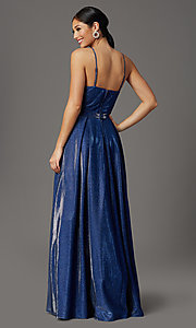 Image of cobalt blue long a-line glitter-knit prom dress. Style: CT-7961VQ8E Back Image