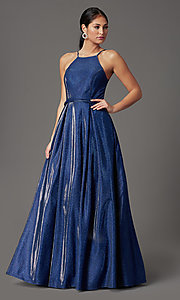 Image of cobalt blue long a-line glitter-knit prom dress. Style: CT-7961VQ8E Front Image
