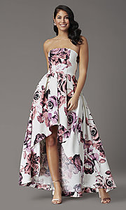 Image of floral-print high-low strapless formal prom dress. Style: SS-X36892R44 Front Image