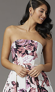 Image of floral-print high-low strapless formal prom dress. Style: SS-X36892R44 Detail Image 2