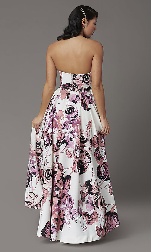Image of floral-print high-low strapless formal prom dress. Style: SS-X36892R44 Back Image