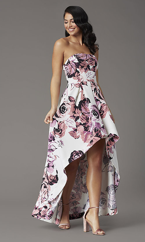 Image of floral-print high-low strapless formal prom dress. Style: SS-X36892R44 Detail Image 1
