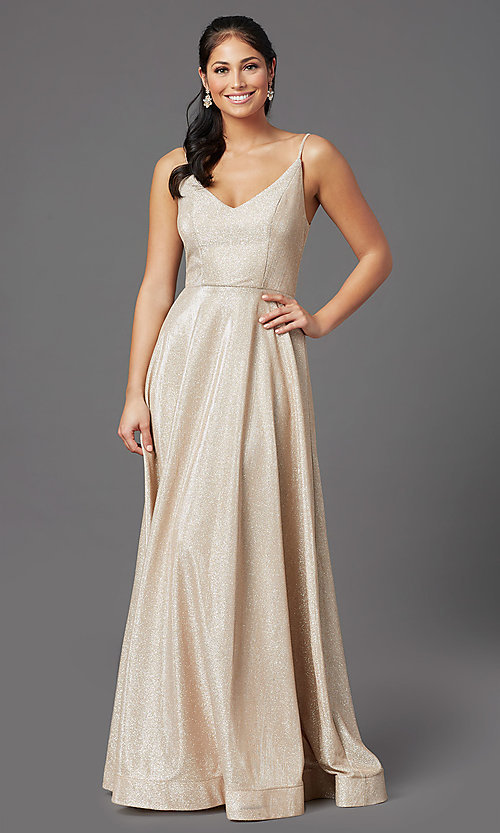 Image of long glitter-jersey champagne formal prom dress. Style: SS-X43181J735 Front Image
