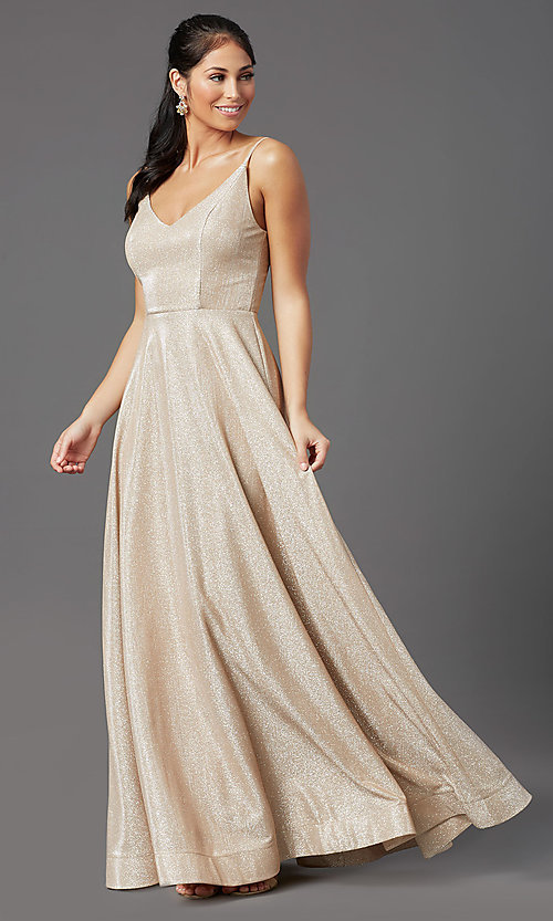 Image of long glitter-jersey champagne formal prom dress. Style: SS-X43181J735 Detail Image 2