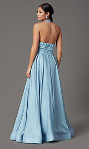 Image of blue and pink long halter prom dress with pockets. Style: SS-X43461W326 Back Image