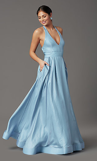 Blue and Pink Long Halter Prom Dress with Pockets