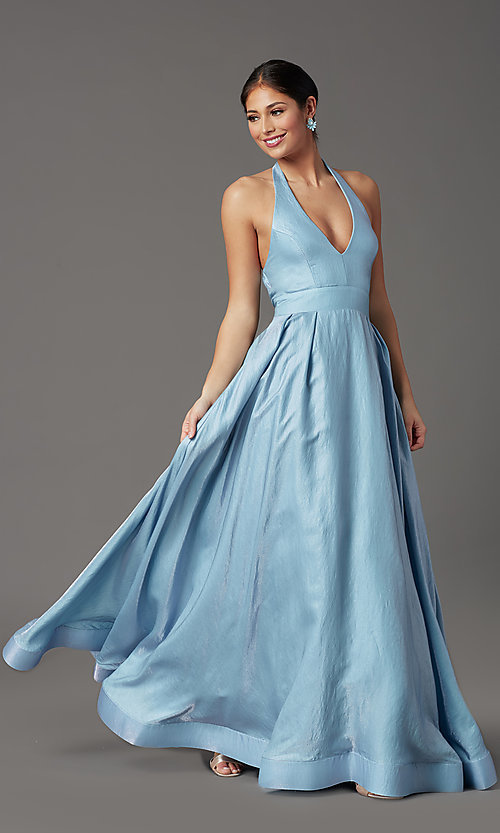 Image of blue and pink long halter prom dress with pockets. Style: SS-X43461W326 Detail Image 2