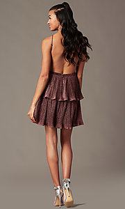 Image of short glitter-knit backless holiday party dress.  Style: MT-1487 Back Image