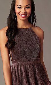 Image of short glitter-knit backless holiday party dress.  Style: MT-1487 Detail Image 2