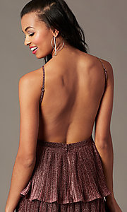 Image of short glitter-knit backless holiday party dress.  Style: MT-1487 Detail Image 3