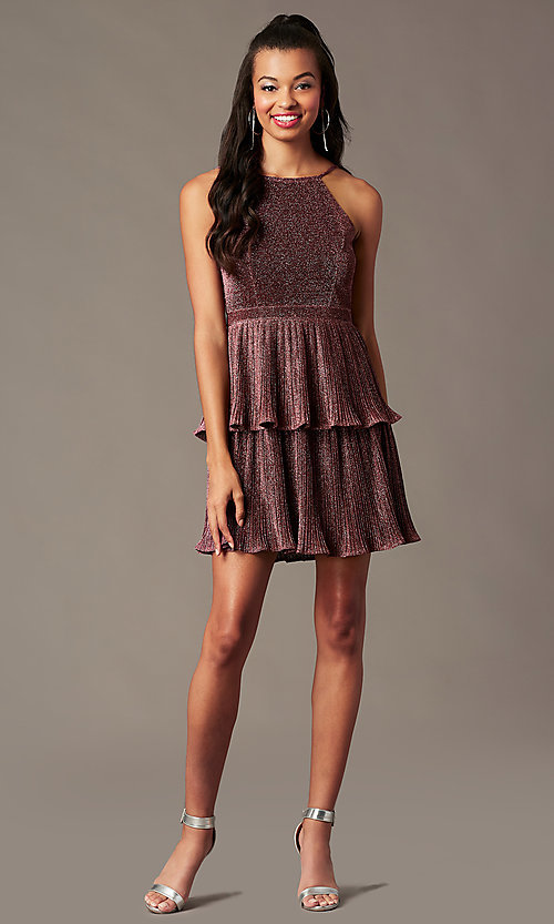 Image of short glitter-knit backless holiday party dress.  Style: MT-1487 Front Image