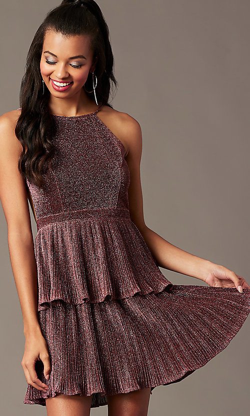 Image of short glitter-knit backless holiday party dress.  Style: MT-1487 Detail Image 1