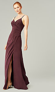 Image of stretch satin long ruched bridesmaid dress. Style: KL-200190 Detail Image 6