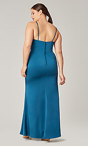 Image of stretch satin long ruched bridesmaid dress. Style: KL-200190 Detail Image 8