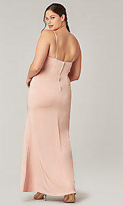 Image of stretch satin long ruched bridesmaid dress. Style: KL-200190 Back Image