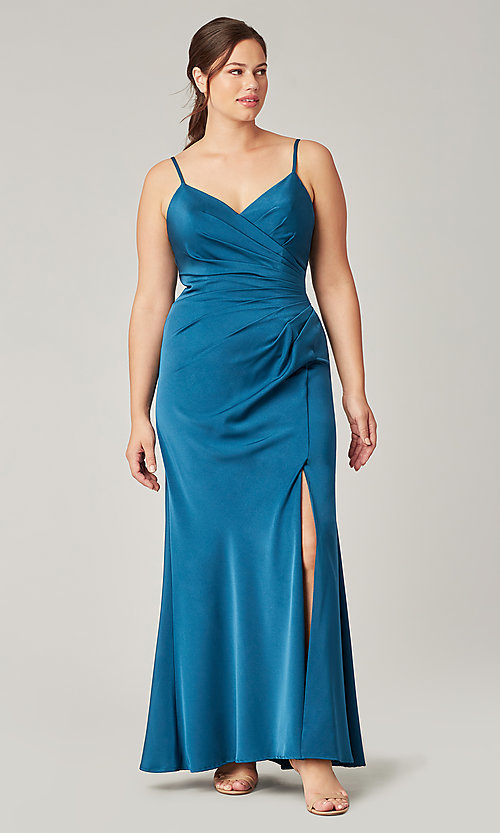 Image of stretch satin long ruched bridesmaid dress. Style: KL-200190 Detail Image 7