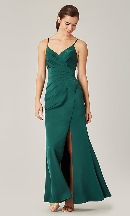 Image of stretch satin long ruched bridesmaid dress. Style: KL-200190 Detail Image 4
