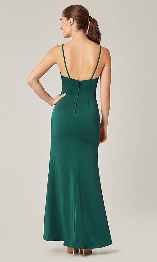 Image of stretch satin long ruched bridesmaid dress. Style: KL-200190 Detail Image 5