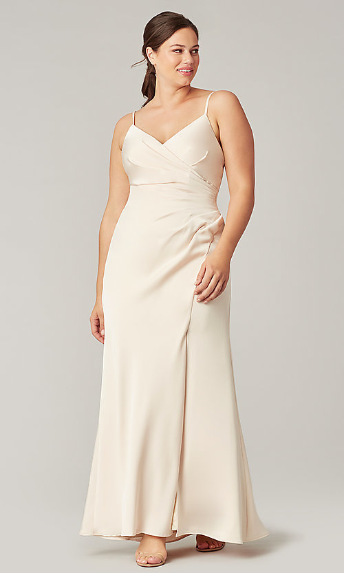 Image of stretch satin long ruched bridesmaid dress. Style: KL-200190 Detail Image 2
