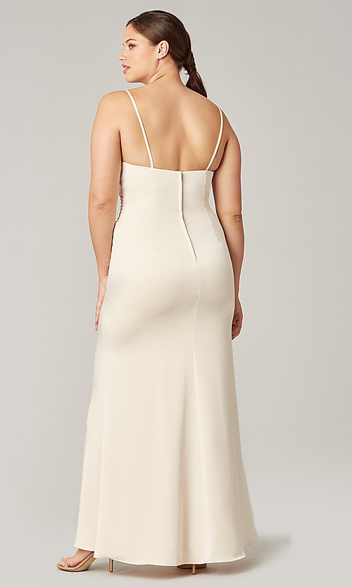 Image of stretch satin long ruched bridesmaid dress. Style: KL-200190 Detail Image 3