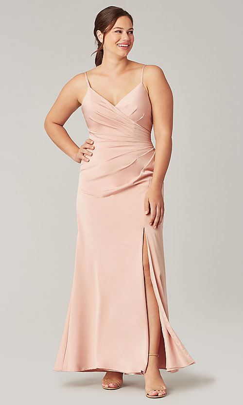 Image of stretch satin long ruched bridesmaid dress. Style: KL-200190 Front Image