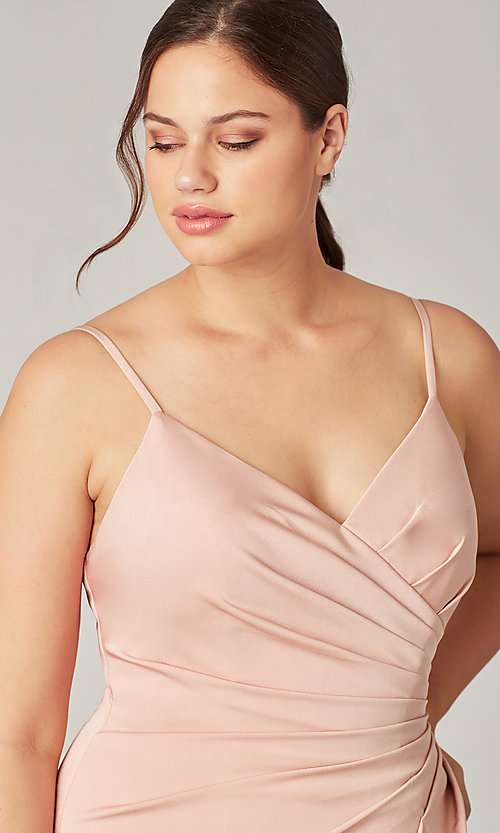 Image of stretch satin long ruched bridesmaid dress. Style: KL-200190 Detail Image 1