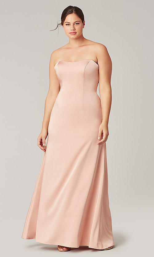 Image of corset-back long strapless bridesmaid dress. Style: KL-200193 Front Image