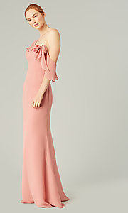 Image of long formal bridesmaid dress with sash tie. Style: KL-200203 Detail Image 1