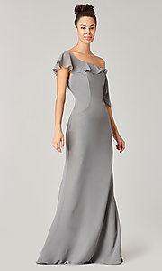 Image of long formal bridesmaid dress with sash tie. Style: KL-200203 Detail Image 3