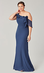 Image of long formal bridesmaid dress with sash tie. Style: KL-200203 Detail Image 5