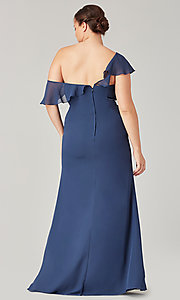 Image of long formal bridesmaid dress with sash tie. Style: KL-200203 Detail Image 6
