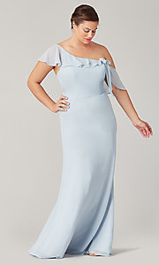 Image of long formal bridesmaid dress with sash tie. Style: KL-200203 Front Image