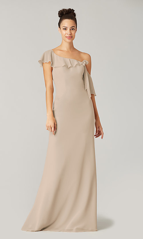 Image of long formal bridesmaid dress with sash tie. Style: KL-200203 Detail Image 7