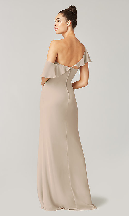 Image of long formal bridesmaid dress with sash tie. Style: KL-200203 Detail Image 8