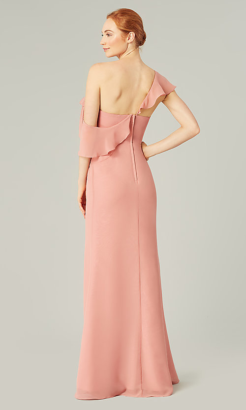 Image of long formal bridesmaid dress with sash tie. Style: KL-200203 Detail Image 2