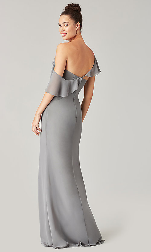 Image of long formal bridesmaid dress with sash tie. Style: KL-200203 Detail Image 4