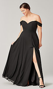 Image of long sweetheart bridesmaid dress with side slit. Style: KL-200208 Detail Image 2