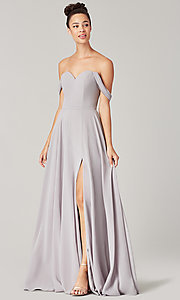 Image of long sweetheart bridesmaid dress with side slit. Style: KL-200208 Detail Image 4