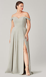 Image of long sweetheart bridesmaid dress with side slit. Style: KL-200208 Detail Image 6