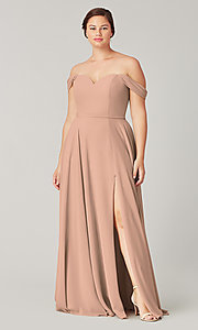 Image of long sweetheart bridesmaid dress with side slit. Style: KL-200208 Detail Image 7