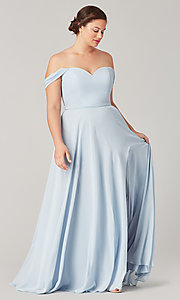 Image of long sweetheart bridesmaid dress with side slit. Style: KL-200208 Front Image