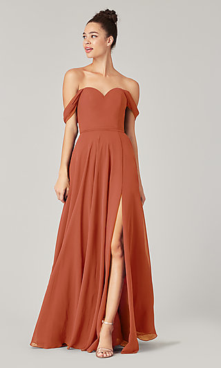 Long Sweetheart Bridesmaid Dress with Side Slit