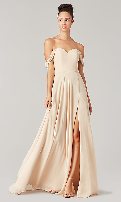 Image of long sweetheart bridesmaid dress with side slit. Style: KL-200208 Detail Image 1