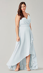 Image of chiffon high-low bridesmaid dress with sash. Style: KL-200207 Front Image