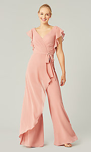 Image of short-sleeve long chiffon formal jumpsuit. Style: KL-200196 Front Image