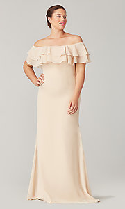 Image of long bridesmaid dress with double ruffled neckline. Style: KL-200198 Detail Image 3
