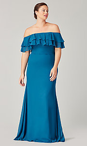 Image of long bridesmaid dress with double ruffled neckline. Style: KL-200198 Front Image